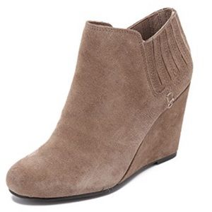 Dolce Vita Suede Wedge Bootie in Taupe